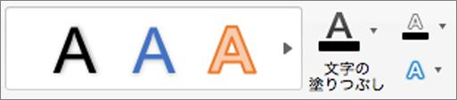 [文字の塗りつぶし]、[テキストの輪郭]、[テキスト効果] をクリックします。
