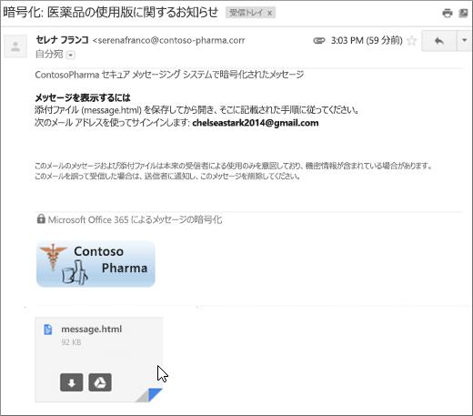 添付ファイル (message.html) を開く