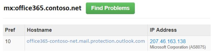 MX が、Office 365 を指す受信者の改訂をする必要があります。