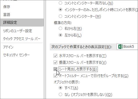 Excel オプションの [シート見出しを表示する]