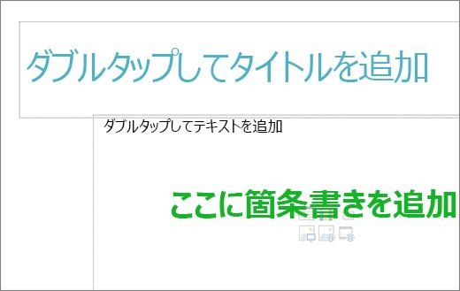 [空のタイトル] ボックスと [空のテキスト] ボックスの画像を使用して、箇条書きを表示します。