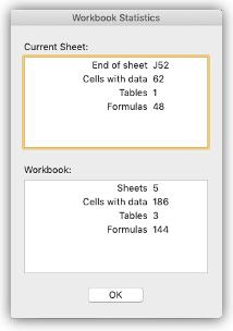 現在のシートとブックについての概要情報が表示された [ブックの統計情報] ダイアログを表示する画像。