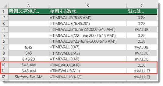 さまざまな TIMEVALUE 関数の出力