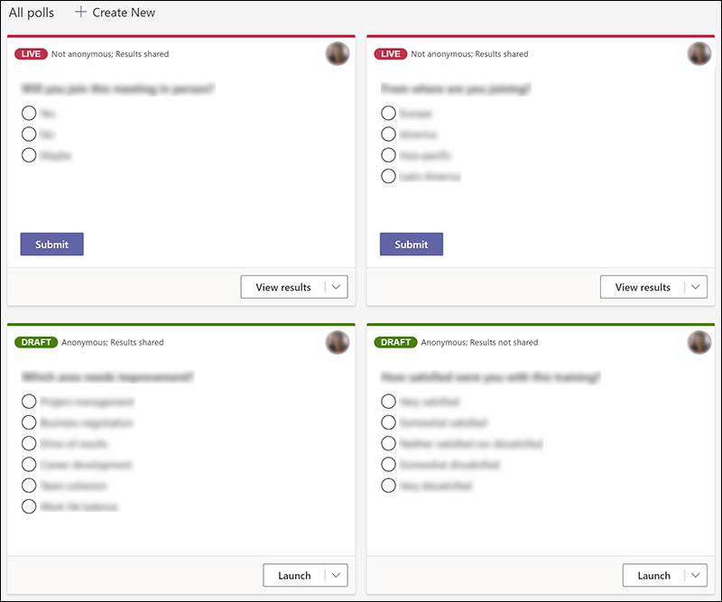 ライブや下書きなど、さまざまな州の Teams で作成された Microsoft Forms の投票