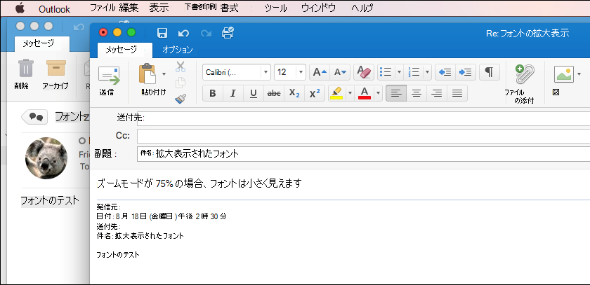 Outlook for Mac のフォント サイズ