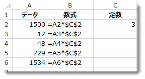 列 A の中の数、列 B の中の $ 記号を含む数式、列 C の中の数値 3