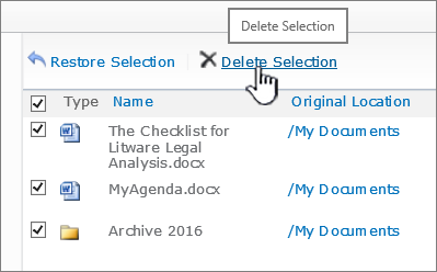 すべてのファイルが削除されている SharePoint 2010 のごみ箱