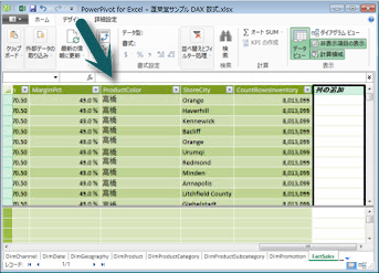 Power Pivot 数式バー
