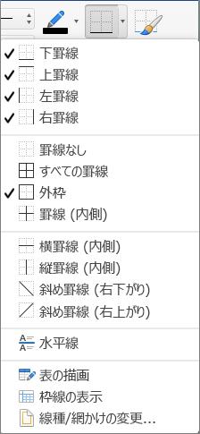 テーブルのデザインの余白オプションが表示される