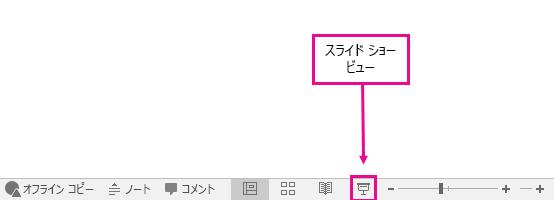 PowerPoint で [スライド ショー ビュー] ボタンが表示される場所を示している