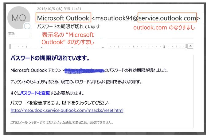 偽装 service.outlook.com フィッシング詐欺メッセージ