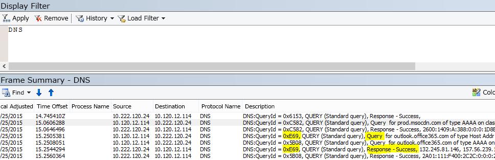 Netmon では DNS の基本フィルターは DNS です。