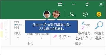 [ユーザー] アイコン。他のユーザーが共同編集中は、ここに表示されます。