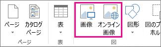 Publisher の [挿入] メニューにある [画像の挿入] オプションのスクリーンショット。