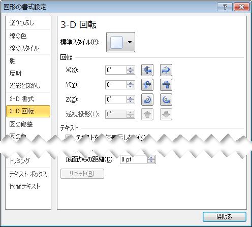 [図形の書式設定] ダイアログボックスの [3D 回転] オプション