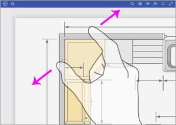 拡大表示するには、2 本の指でダイアグラムをタッチして、指同士を遠ざけます。