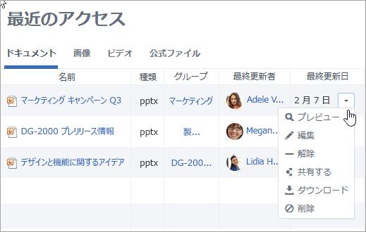 最終更新日] 列のドロップダウン リストは、操作を行うことを示しています。
