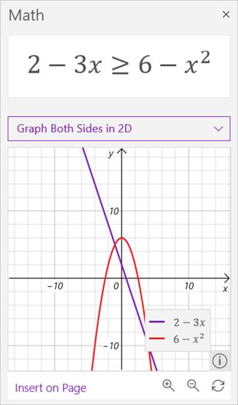 数学アシスタントによって生成された不等式 2 - 3 x のグラフが 6 - x 2 乗以上のスクリーンショット。 前者は紫、後者は赤です。
