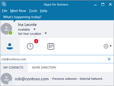 フェデレーションされた企業内のユーザーを見つけるには、(通常はユーザーのサイン イン名でもある) 電子メール アドレスを検索する必要があります。