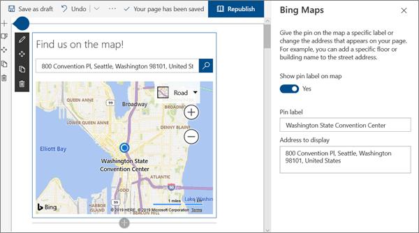 SharePoint Online でのモダンなワークショップサイト用の Bing Maps web パーツ入力の例