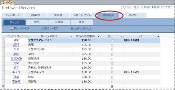 サービス データベース テンプレートの [詳細設定] タブ