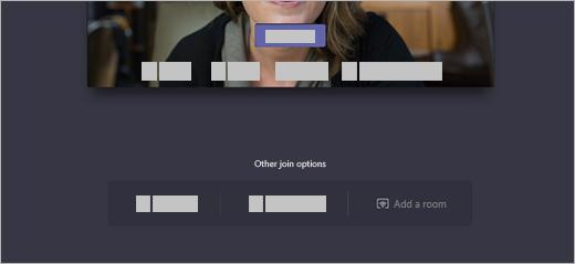 [その他の参加オプション] の [参加] 画面に、会議室を追加するオプションがあります。