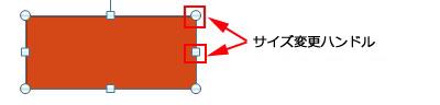 図形をクリックすると、サイズ変更ハンドルが表示されます。