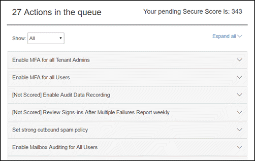Office 365 Secure Score ツールのアクション キュー