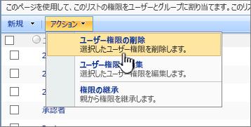 [操作] メニューからユーザーのアクセス許可を削除する