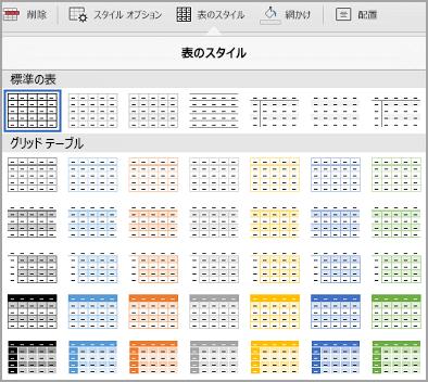 iPad の表テンプレート ギャラリー