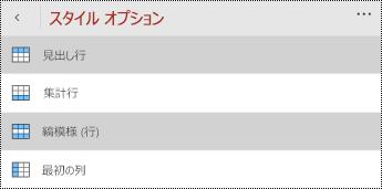 Windows Phone 用 PowerPoint の [表] タブの [ヘッダー] メニュー。