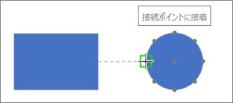 接続先の図形のヒントを表示:接続ポイントに接着