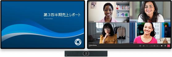 会議室の 2 つのディスプレイが表示された会議室デバイス