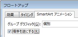 [SmartArt アニメーション] タブの [順序を逆にする] チェック ボックスの部分