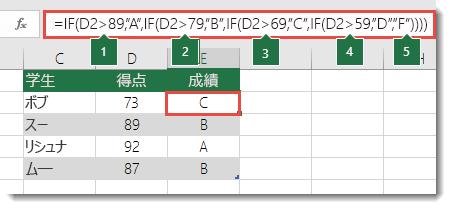 """入れ子になった複雑な IF ステートメント - E2 の式は =IF(B2>97,""""A+"""",IF(B2>93,""""A"""",IF(B2>89,""""A-"""",IF(B2>87,""""B+"""",IF(B2>83,""""B"""",IF(B2>79,""""B-"""",IF(B2>77,""""C+"""",IF(B2>73,""""C"""",IF(B2>69,""""C-"""",IF(B2>57,""""D+"""",IF(B2>53,""""D"""",IF(B2>49,""""D-"""",""""F""""))))))))))))"""