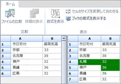 エクスポートされた Access データの比較の結果