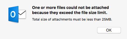 サイズの大きな添付ファイルに関するエラー
