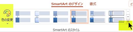 グラフィックの色やスタイルを変更するには、リボンの [SmartArt のデザイン] タブのオプションを使用します。