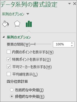 Office 2016 for Windows の箱ひげ図のオプションを表示している [データ系列の書式設定] 作業ウィンドウ