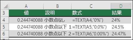 パーセントの表示形式コード