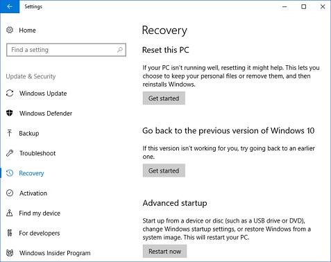 Windows 以前のバージョンに戻すの 10 の回復に