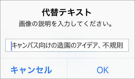 Outlook for iOS の画像の [代替テキスト] メニュー