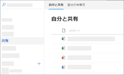 OneDrive for Business on the web の [自分と共有] ビューのスクリーンショット