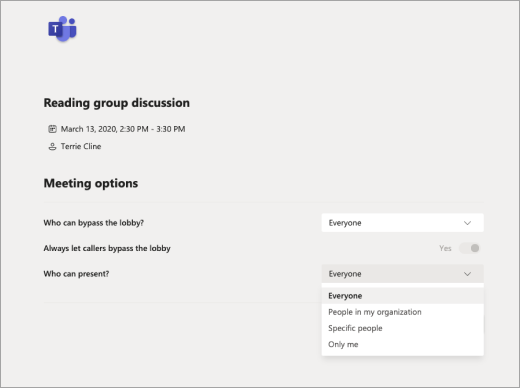 Teams 会議オプションでの表示を許可するユーザーを選択する