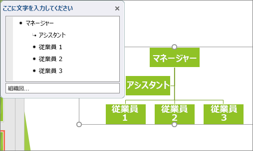 SmartArt の組織図の例