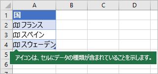 4 つのセル、それぞれにマップ アイコンと国名が含まれます