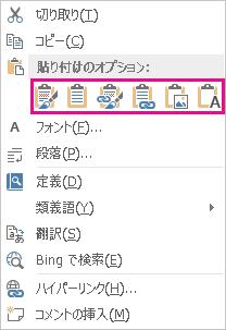 Excel のグラフを Word に貼り付けるための 5 つのオプションのボタン グループ
