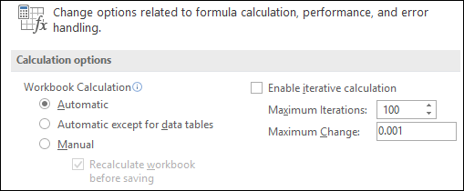 [自動計算] および [手動計算] オプションの画像