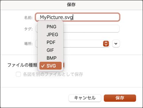 SVG オプションが選択された状態で、PowerPoint 2021 for Mac で名前を付けて保存する