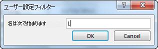 """[ユーザー設定フィルター] ダイアログ ボックスに、""""さ"""" の文字が入力されています。"""